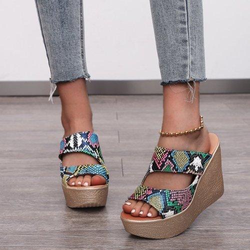 Women's Slippers Summer Platform Wedge Slippers Women Sandals High Heels Slippers Beach Slides Woman Black/red Slippers