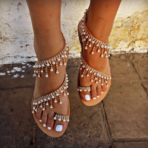Fashion summer new Roman pearl flats sandals women fashion handmade beaded flat sandals women large size Women's shoes