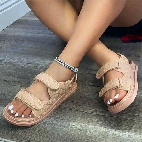 2021 Summer Women Premium Orthopedic Open Toe Sandals Vintage Anti-slip Breathable Leather Casual Female Platform Retro Shoes