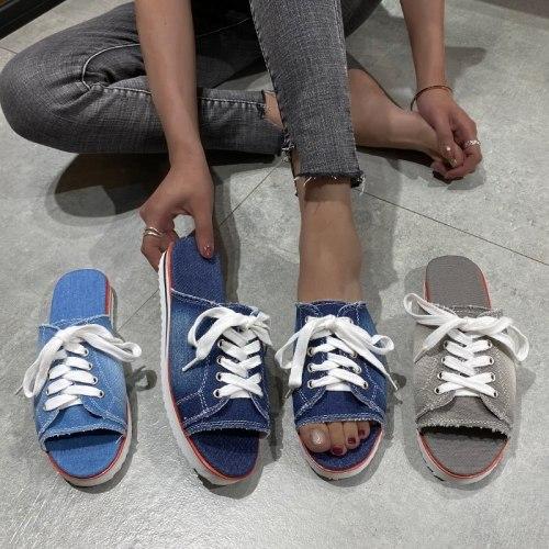 Women Canvas Flat Slipper 2021 Woman Lace Up Ladies Peep Toe New Women's Casual Female Fashion Denim Beach Shoes Plus Size 35-43