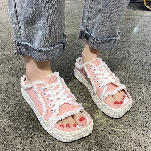 New Fashion Summer Open Toe Canvas Sandals Women Thick Platform Slip On Loafers Casual Ladies Lace Up Tassel Sandals Shoes Color