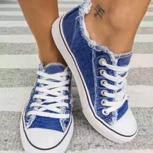 2021 Student Casual Canvsa Shoes Women Low Cut Lace Leisure Denim Sepia Style Canvas Shoes Sapato Feminino Sneakers jkm8