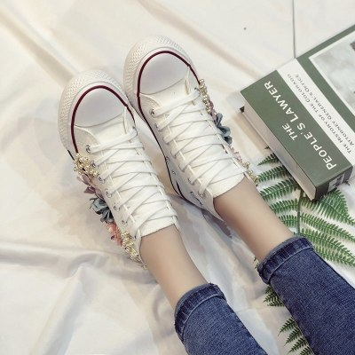 Summer High Top Women Sneakers Wedges Canvas Shoes Fashion Casual Shoes Woman Handmade Custom Pearl Flowers White Black Flats