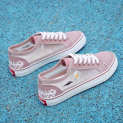 Spring and summer 2021 new breathable mesh canvas shoes flat bottomed hollow women's shoes versatile mesh shoes casual board sho