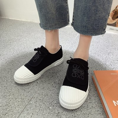 2021 New Spring Women Biscuit Shoes Net Red Embroidered Thick Sole Canvas Shoes Wild Casual Flat Bottom Shell Toe Board Shoes