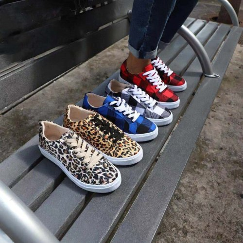 Running Sports Shoes Women Sneakers Fashion Leopard Lace Up Flat Shoes Female Spring Breathable Canvas Shoes Chaussure Femme