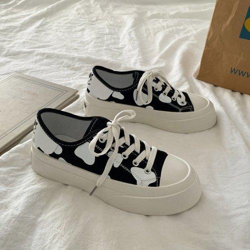 Lolita Shoes Women Platform Sneakers Cow Print Casual Flats Cute Kawaii White Retro Sport Tennis Female 2021