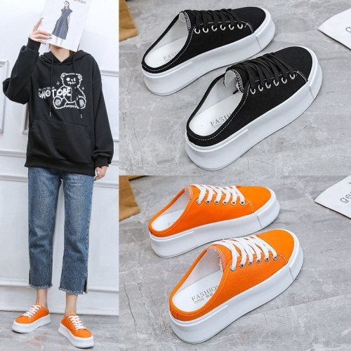 Summer New Style Slippers Fashion Shoes Without Heel Canvas Shoes Ladies Fashion Sneakers Fashion Sneakers Without Back