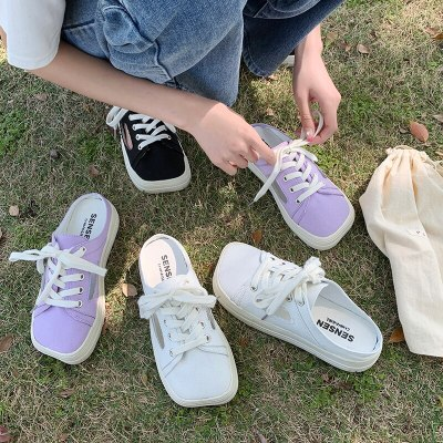 Cover Toe Low Slippers Casual Female Shoes Slides Luxury 2021 Summer Flat Cotton Fabric Cross-tied Fashion Basic Rubber PU