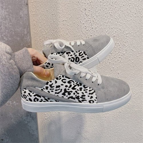 2021 Autumn Women Sneakers Casual Lace Up Breathable Platform Sport Shoes Fashion Suede Leather Running Leopard Shoes Sneaker