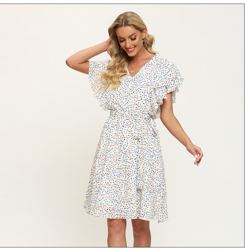 Women V-neck Beach Summer Dress Bohemian Style Ruffle Sleeveless Dot Printing A-Line Vestidos De Women Casual Dresses