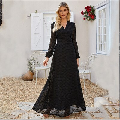 Fashion 2021 Autumn Black Chiffon Long Dresses Bohemian V-neck Maxi Boho Dress for Femme Women V-neck Sexy Party Dress Vestidos