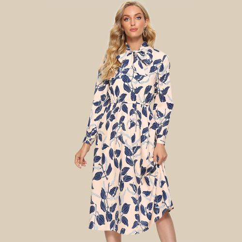 Women Long Sleeve Mid Sundress Ladies Print Bow Tie Neck Casual Summer Dresses 2021 Fashion A Line Vestidos De