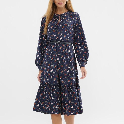 Elegant Women Printing A-line Dress 2021 Fashion Long Sleeve Summer Midi Dress NO BELT Bohemian Style Casual Sundress