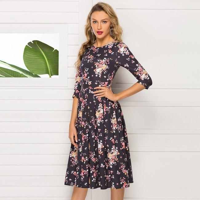 2021 Summer Women Printing Dress Elegant O-neck Slim Long Party Vestidos De Women Boho Casual Sundress