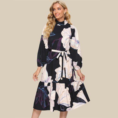 Plus Size Floral Print Vintage Dress Elegant Empire Turtleneck Ladies Frocks for Women Casual Mid-calf Full Sleeve Bandage Dress