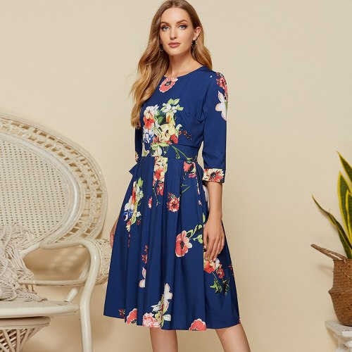 Plus Size Floral Empire Vintage Dress Elegant Zippers Knee-length Ladies Frocks Casual O-neck Three Quarter Sleeve Bandage Dress