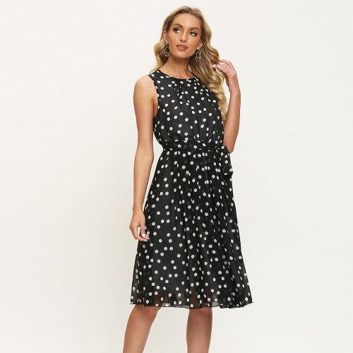 Summer 2021 Polka Dot Tank Dress Vintage Sleeveless Plus Size Ladies Frocks for Women Casual Empire Knee-length Bandage Dresses