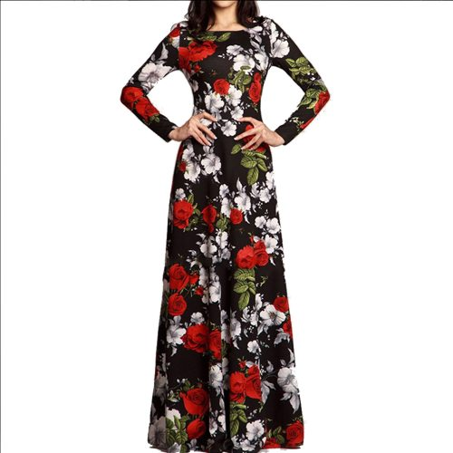 Neck Floral Print Long Dress Women Spring Summer 2020 Vintage Long Sleeve A Line Women Dress Vestidos Robe Femme