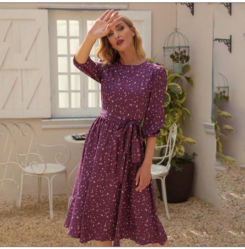 Spring Fashion Women Casual Dress Elegant 3/4 Sleeve O-neck Printed Midi Dress Summer Female Party Vestidos