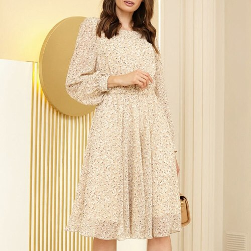 A-line Folds Floral Dress Elegant Empire Vestidos Knee-length Ladies Frocks for Women Casual O-neck Full Sleeve Vintage Dress