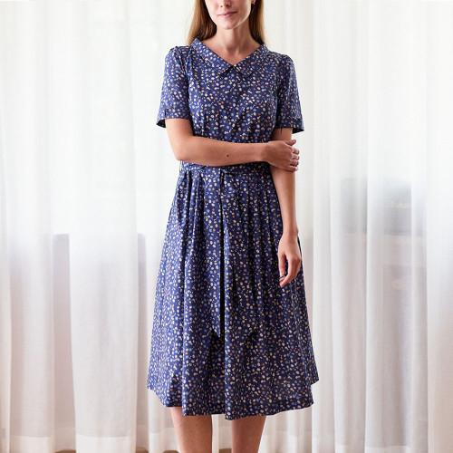 French Style Floral Summer Dress Elegant Turn-Dwon Collar Short Sleeve A-line Retro Vestidos De Women Casual Sundress