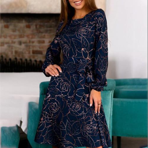 2021 Summer Women Printing Casual Dress Boho Style O-Neck A-Line Retro Vestidos De Femmale Midi Sundress Clothes