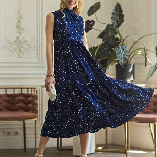 Women Dot Printing Sleeveless Casual Dress 2021 Hot Sale Summer Midi Vestidos Vintage Female A-Line Sundress