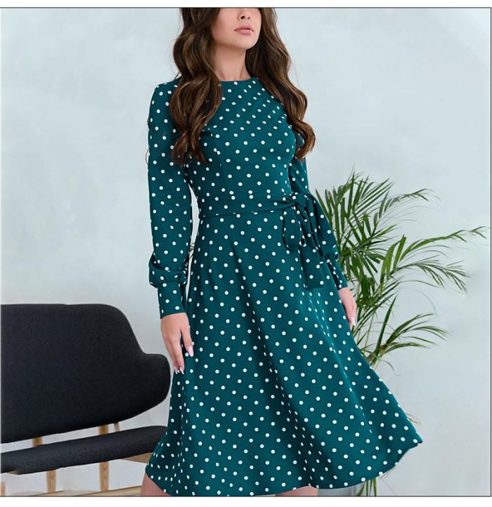Green Dot Printing Women Sundress Elegant O-neck Long Sleeve Retro Vestidos Summer Fashion Casual Midi Dresses