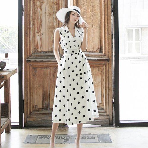 Women's Summer Sundresses Elegant Polka Dot Dress 2021 Korean Clothing Fashion Holiday Sleeveless Maxi Dress Femme Robe