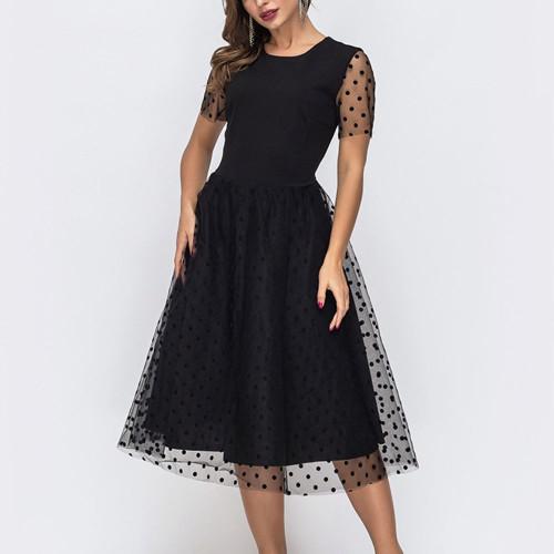 Bohemian Style Short Sleeve Sundress Sexy Mesh Black Color A-line Party Vestidos De Wmen Beach Casual Summer Dresses