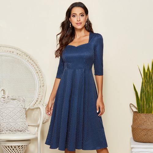 Dot Print A-Line Midi Dress Summer Square Neck Backless Holiday Beach Casual Sundress Elegant Slim A-line Vestido Des