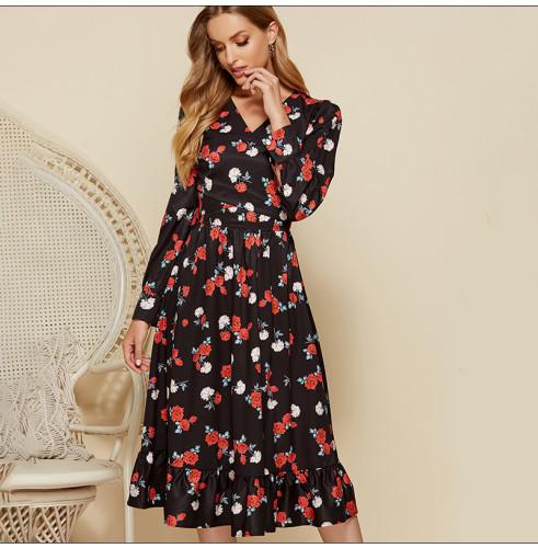 Women V-neck Vintage Midi Dress Elegant Flower Printing Long Sleeve A-line Vestidos Spring Summer Fashion Party Dresses