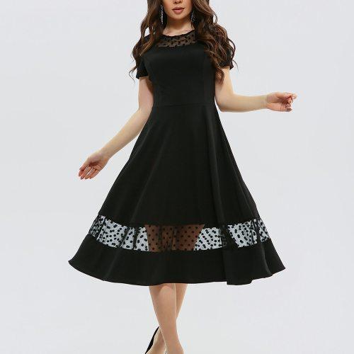 Summer 2021 Vestidos Black Short Sleeve Dress Vintage Empire Patchwork Ladies Frocks for Women Casual Mid-calf Plus Size Dresses