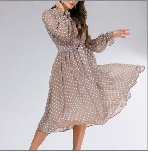 Women Dot Wave Print Chiffon Dress 2021 Summer Fashion Long Sleeve Casual Dress Vintage Women Beath Sundress