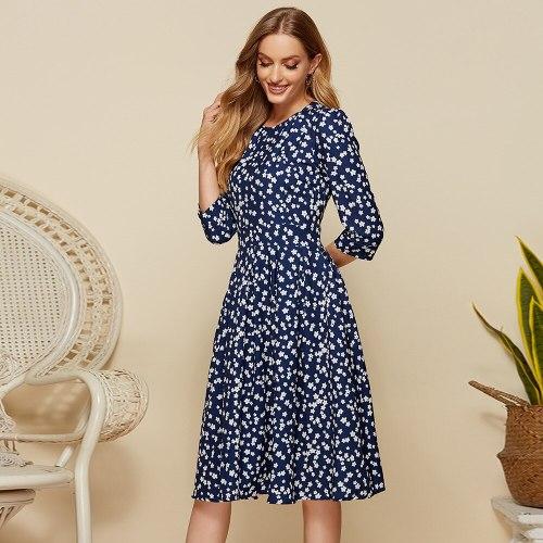 New 2021 Elegant A-line Spring Dress Vintage printing Slim Party Dress Three Quarter Sleeve women Summer Casual Midi Dress