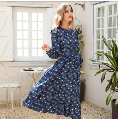 Women Printing Midi Vestidos De Summer Fashion Long Sleeve O-neck Casual Dress Women Party A-line Dress Clothes