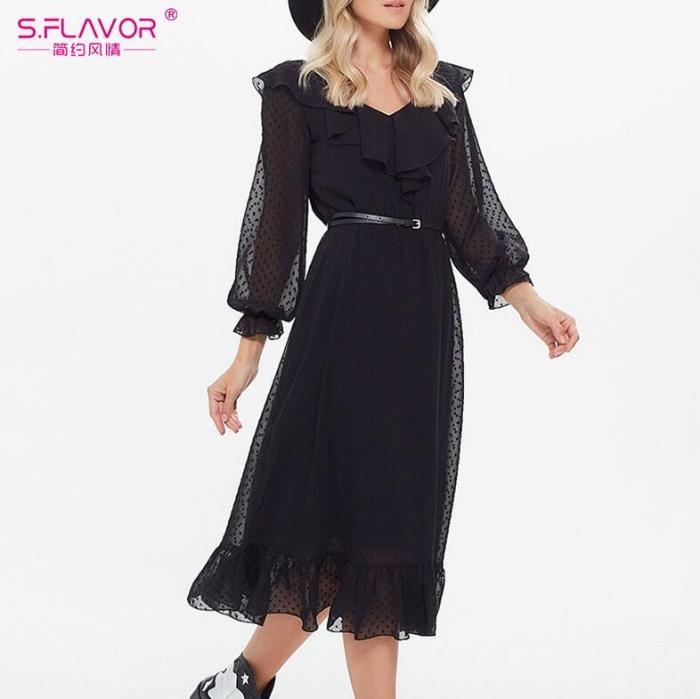 Women Solid Color Chiffon Long Dress Bohemian Style V-neck Spring Beach Maxi Dress Women Fashion Summer Long Dress