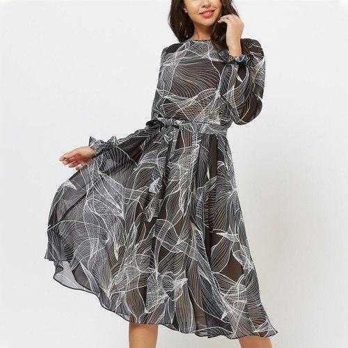 Women Printing Chiffon Dress Spring Fashion  O Neck A Line Party  Elegant Women Midi Dress Vestidos De Mujer