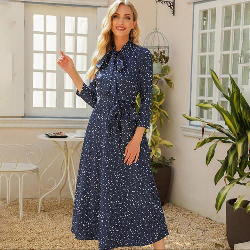 2021 Vintage Tie Neck Women Sundress A-line Bohemian 3/4 Sleeve Dot Print Slim Dress Summer Working Print Dresses