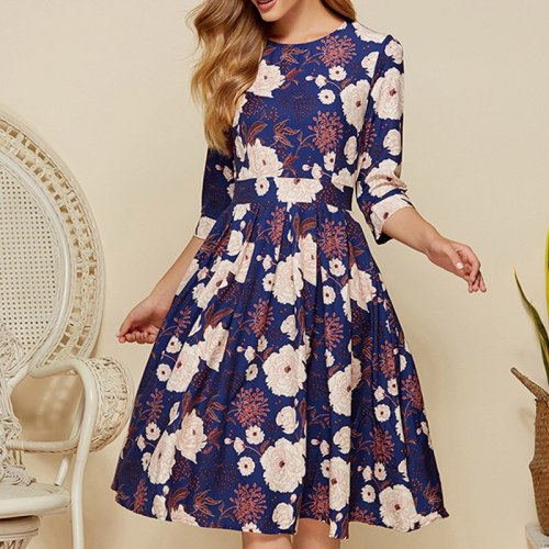 A-line Zipper O-neck Floral Dress Elegant Three Quarter Sleeve Ladies Frocks for Women Causal Empire Knee-length Vintage Dress