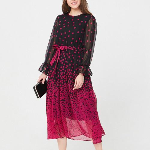 Women Polka Dot Print Chiffon Summer Dress Fashion Long Sleeve O-neck Casual Sundress Vintage Light Party Vestidos