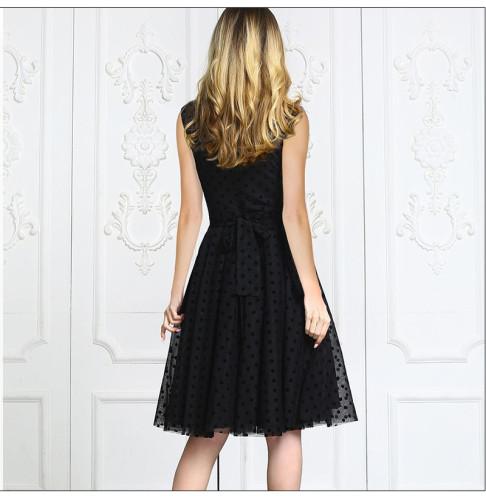 2021 Summer Fashion Chiffon Dress Black Hollow Out Sexy Mesh Party Midi Vestidos De Retro Women Sleeveless Sundress