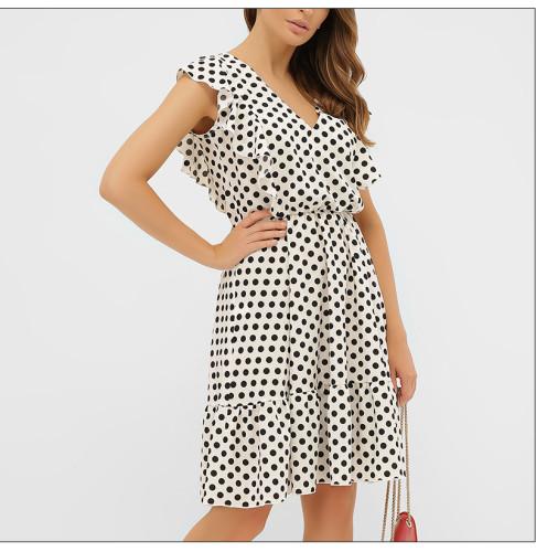 Women Sexy Ruffled Dress Sleeveless 2021 Fashion Summer Beach Holiday Sundress Vintage A Line Polka Dot Print Dress