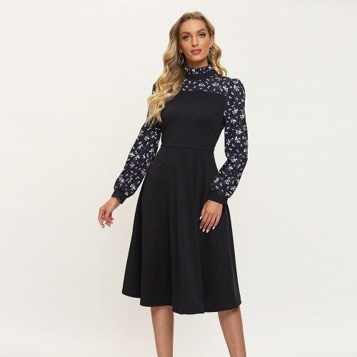 Modern Floral Turtleneck Vintage Dress Elegant Folds Empire Ladies Frocks for Women Casual Mid-calf Full Sleeve Plus Size Dress