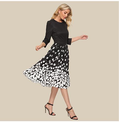 Women Patchwork Midi Sundress 2021 Summer Fashion Printing Casual Dress Elegant Women Retro Party Vestidos De