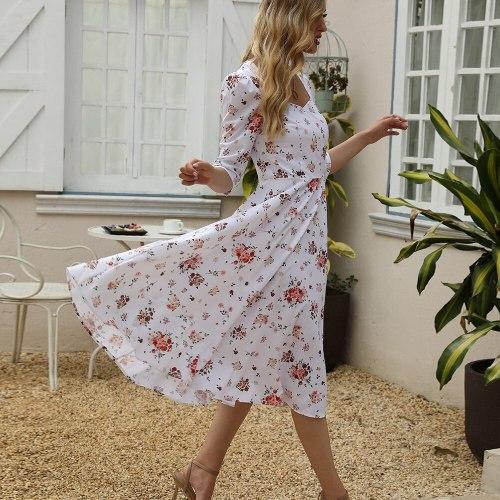 2021 Spring and Summer New Women's Dress Floral Print T-strap Banquet Elegant Dress Half Sleeve Mid-Calf Vestidos Donsignet