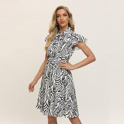 A-line Zebra Striped Dress Elegant Empire Knee-length Ladies Frocks for Women Casual Bow Neck Short Flying Sleeve Vintage Dress