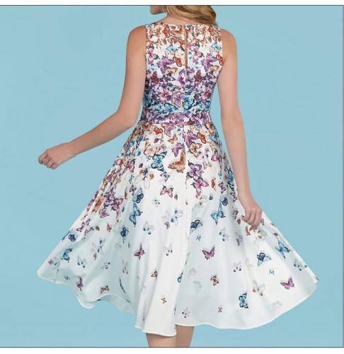 Fashion Sexy O Neck Butterfly Print Dress Sleeveless Beach Patry A Line Mid Dress Sundress Boho Summer Women Clothes