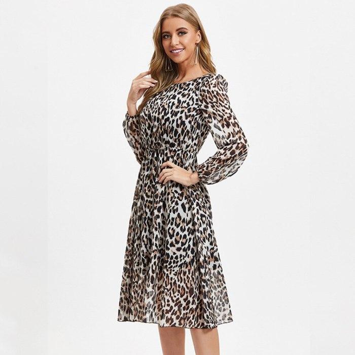 Leopard Print O Neck Chiffon Dress Women Summer Long Sleeve Sexy Party Dress Clothes Female Casual Beach Dress